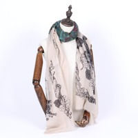 Super thin and screen printed summer cashmere scarf shawl