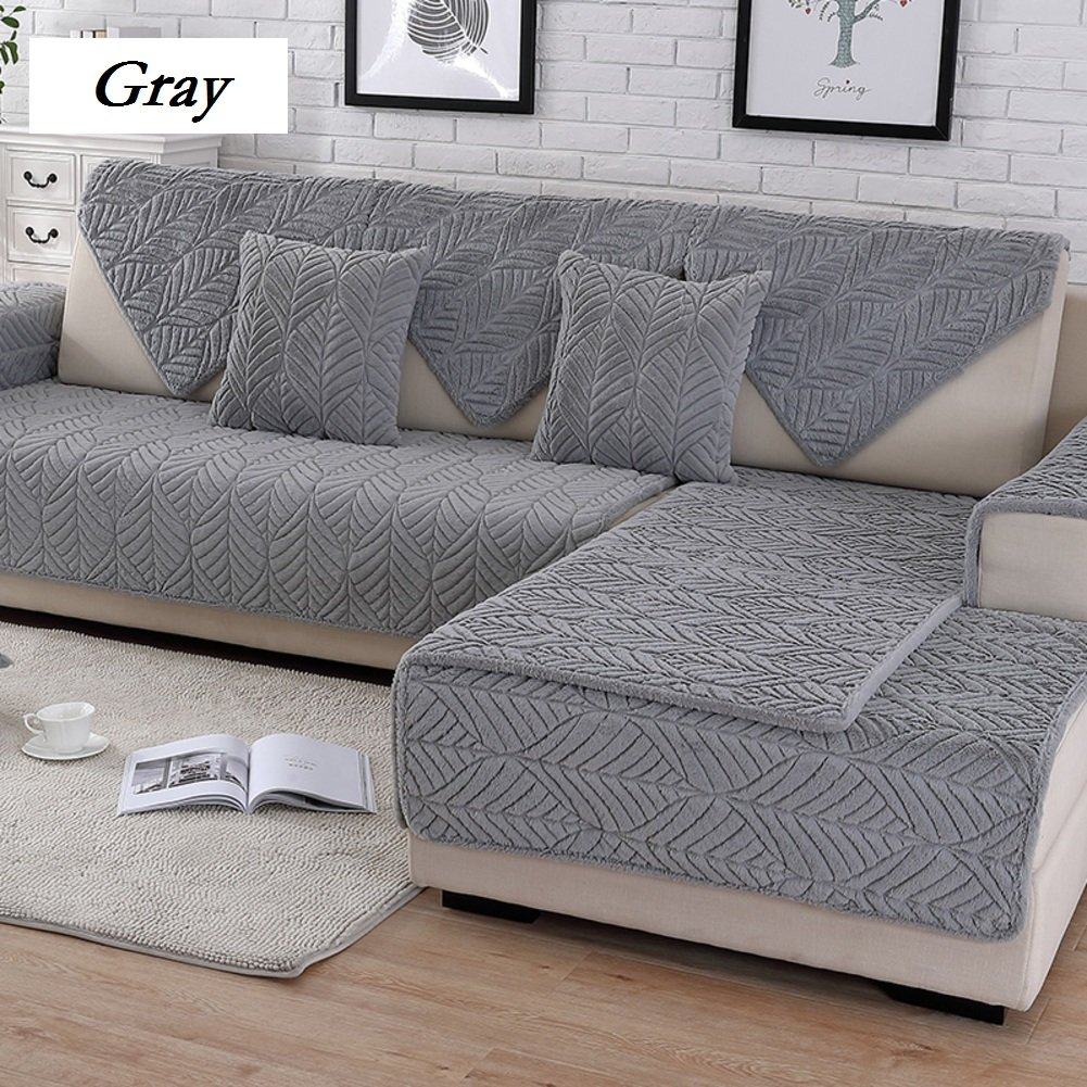DW&HX Soft suede Strapless Heavyweight Sofa slipcover Furniture protector,Perfect for pets and kids 3 seats Non-slip Quilted sofa protector -D 28x71inch(70x180cm)