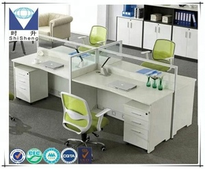 Competitive factory sale white color MDF 4 seater office desk