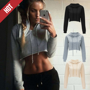 OEM Service Black Workout Hooded Long Sleeve Womens Crop Top