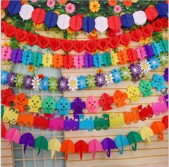 Whole Kids Animal Flower Doll Umbrella Paper Hanging Garland Tissue Flowers Birthday Decor Party