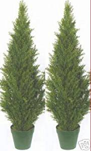 Two 4 Foot Artificial Topiary Cedar Trees Potted Indoor Outdoor Plants