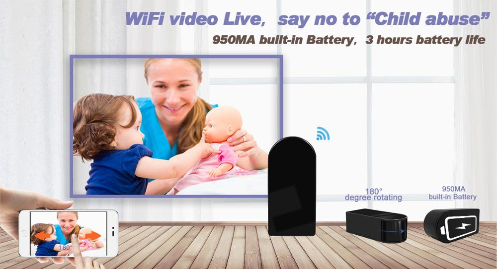 Wholesale price! 1080P hidden black box camera with 180 degrees rotatable lens wifi p2p camera nanny cam