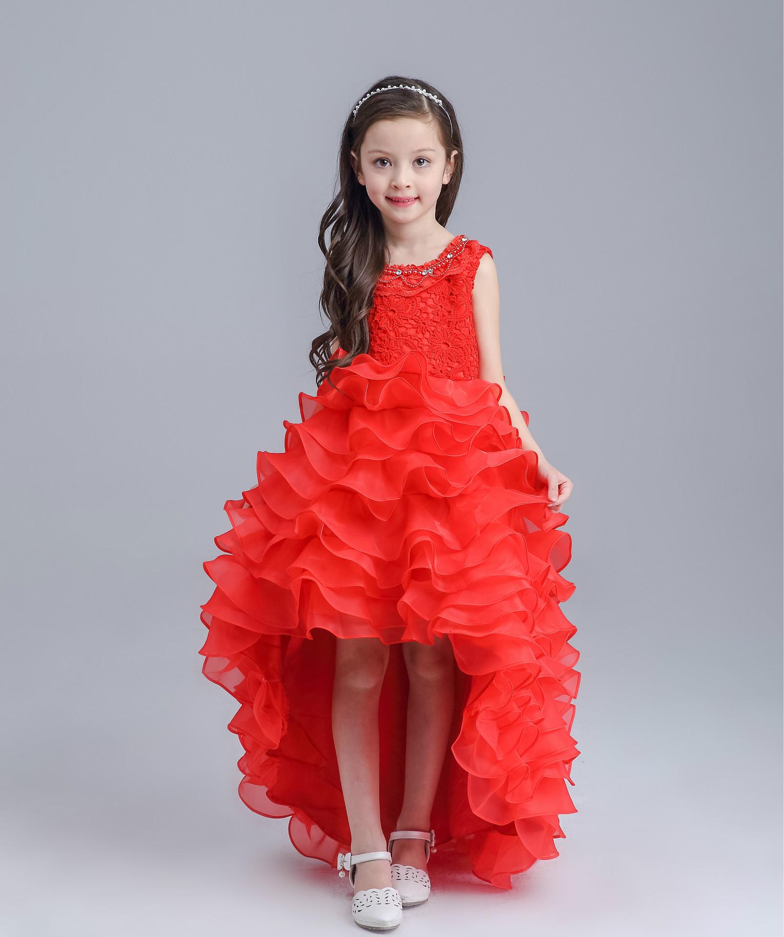 e9e717a31 Teenage Long Tailed Girls Summer Dress Kids Girls Red White Wedding ...