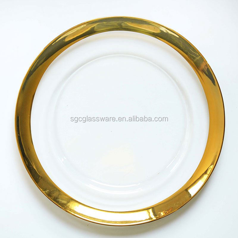 Sxgc Wholesale Gold Rim Clear Glass Chargers Plate - Buy Chargers ...