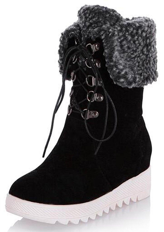 904f35d3f635 Get Quotations · IDIFU Women s Casual Mid Wedge Heels Hidden Heels Platform  Fleece Lined Faux Suede Lace Up Mid
