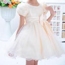 New 2016 Flower Girl font b Dress b font Light Yellow Party Princess Puffy Apricot font