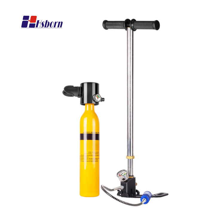 Portable Mini Scuba Oxygen Cylinder Diving Breathing Equipment with Hand Pump