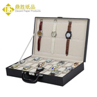 High Quality Black Croco PU Leather Large 36 Watch Storage Organizer Display Suitcase Boxes Wholesale
