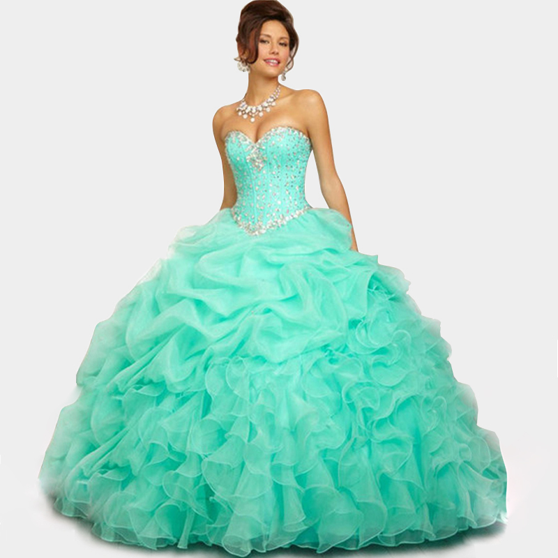 fbe899b00f4 Get Quotations · Cute Sweetheart Organza Pink Light Blue Quinceanera Dresses  Ball Gowns 2014 Dress for 15 Years Floor