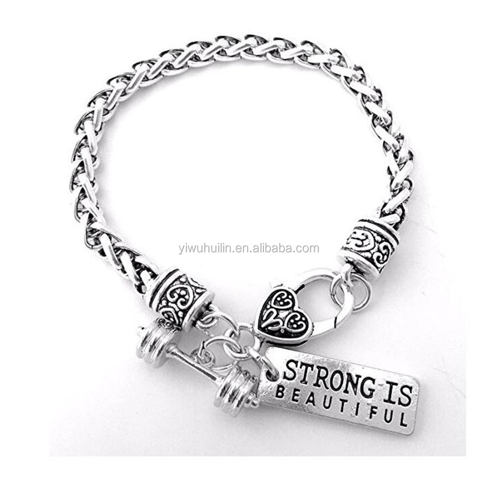 B6002060 Huilin Jewelry Cross Fit Training Weight Lifting Dumbbell Barbell Silver Strong is Beautiful charm Wheat Link Bracelet, Antique silver
