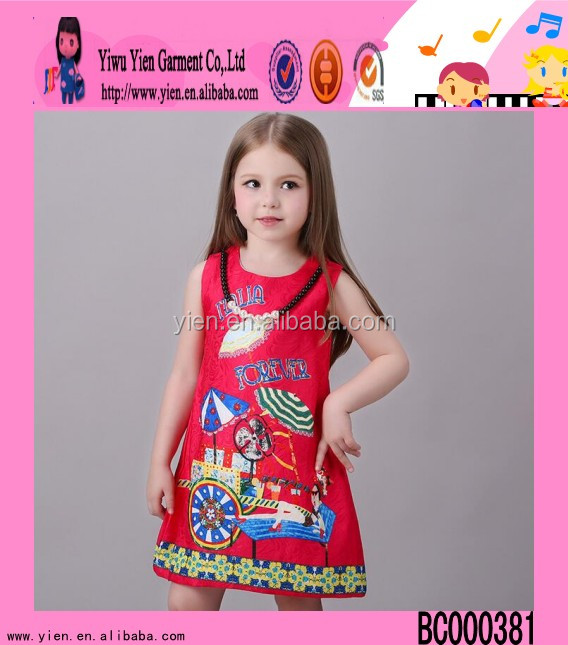 2016 USA hot sale fashion dresses for 2-8 years girl summer midi dresses kids gowns and dresses