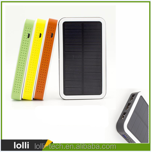 Trend 2017 electronics battery charger colorful 10000 mah high capacity solar charging power bank for cell phone