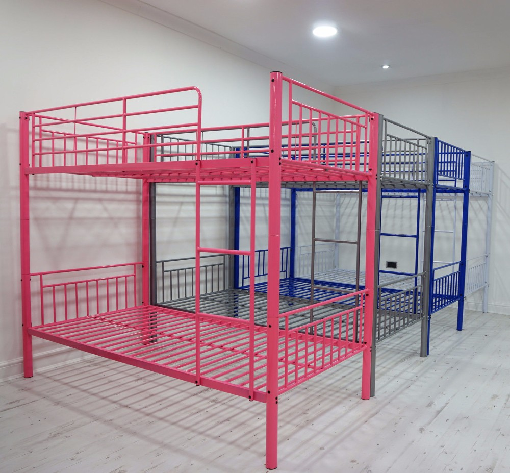 Steel double deck bed - Cheap Metal Bed Frame Fabrication Metal Pipe Bed Frame Metal Double Deck Beds