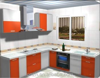 Used Orange Wooden Mdf Kitchen Cabinet