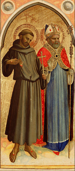 Canvas Art Prints Giclee Oil Painting Fra Angelico guido Di Pietro Giovanni Da Fiesole <font><b>italian</b></font> Saint Francis And A Bishop