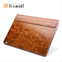 ICARER Genuine Leather Case for Microsoft Surface Book Detachable Flip Cover with Stand Function