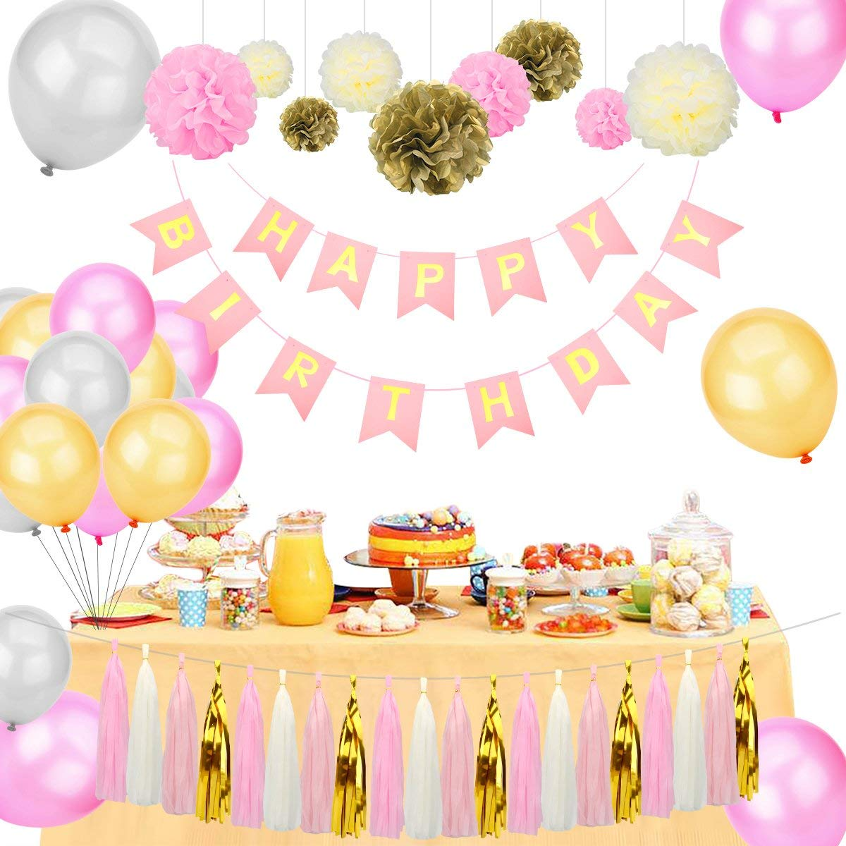 Sugoiti Birthday Party Decorations - Happy Birthday Banner Tissue Paper Flower Pom Poms Paper Tassel Balloons Pink/Gold/Ivory Party Decoration Nursery Room Decor