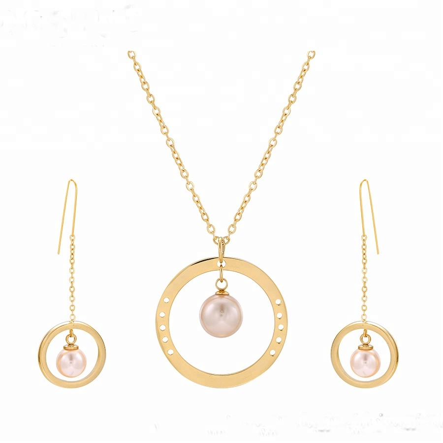 S-233 Xuping simple 24 천개 금 색 도금 stainless steel 보석 펄 jewelry sets girl