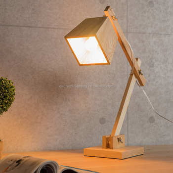 Antique Wooden Desk Lamp Handmade Solid Reading Table Lamps