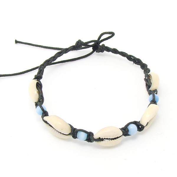 simple natural bracelet shell wood leather cuff bracelet woven bracelet adjustable, As show (customize colors are available)