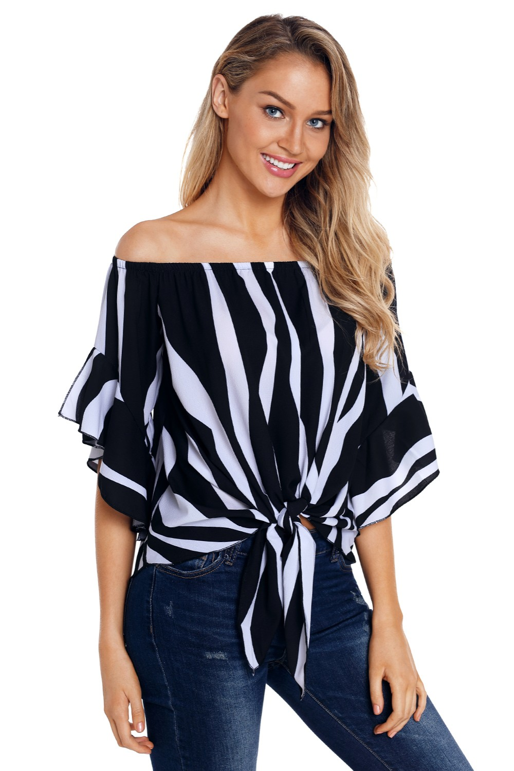6972596d5ccda0 Women Striped Off Shoulder Bell Sleeve Shirt Tie Knot Casual Blouses Tops
