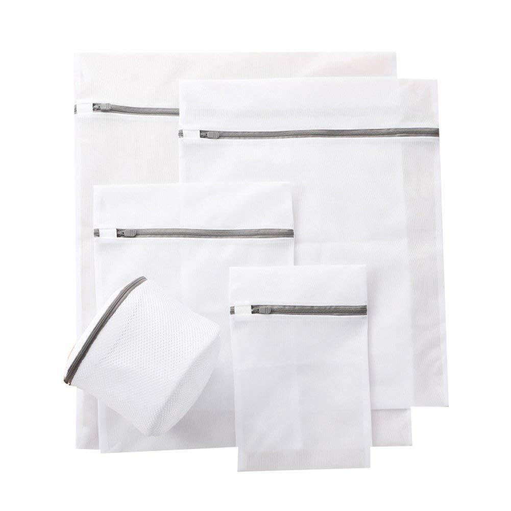 5Pcs Mesh Laundry Bags Set Travel Large Nylon Zipped Washing Net Underwear Bra