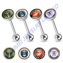 U.S. Military Logo Print Inlayed 316l Surgical Steel Tongue Ring Piercing Bar Tongue Straight Barbells Piercing Jewelry