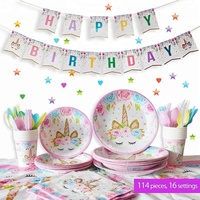 Easternhope Unicorn Kids Party Supplies Set of 16 Cute, Magical, Fantasy decorations for Girls and 1st Birthday