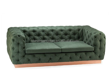 Tufted Sofa Design Dark Green Leather