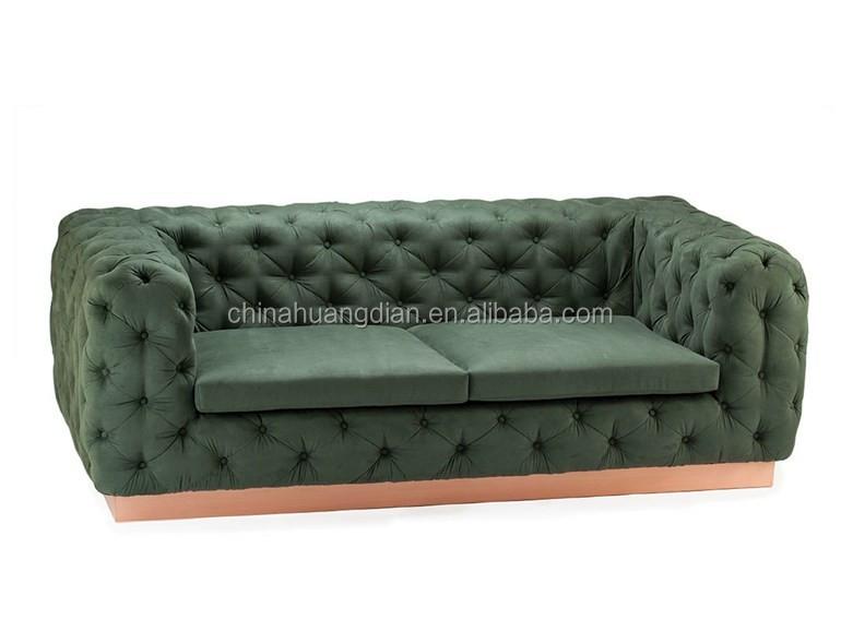 Tufted sofa design dark green leather sofa HDS1600, View ...