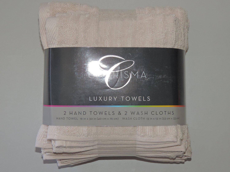 Charisma 4pk Luxury Towels Set: 2 Hand Towels & 2 Wash Cloths , Color: Ecru