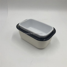 Nuevo producto with enamel butter dish a separate fitting lid with its own handle