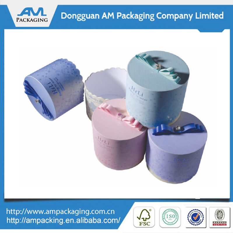 Beautiful round box round paper box round hat boxes with lids in Dongguan