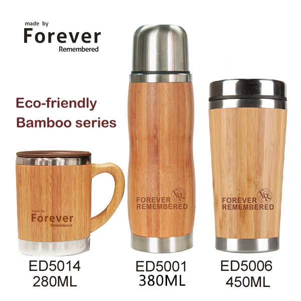 Custom inner stainless steel coffee mug outer bamboo mugs with laser engraved logo фото