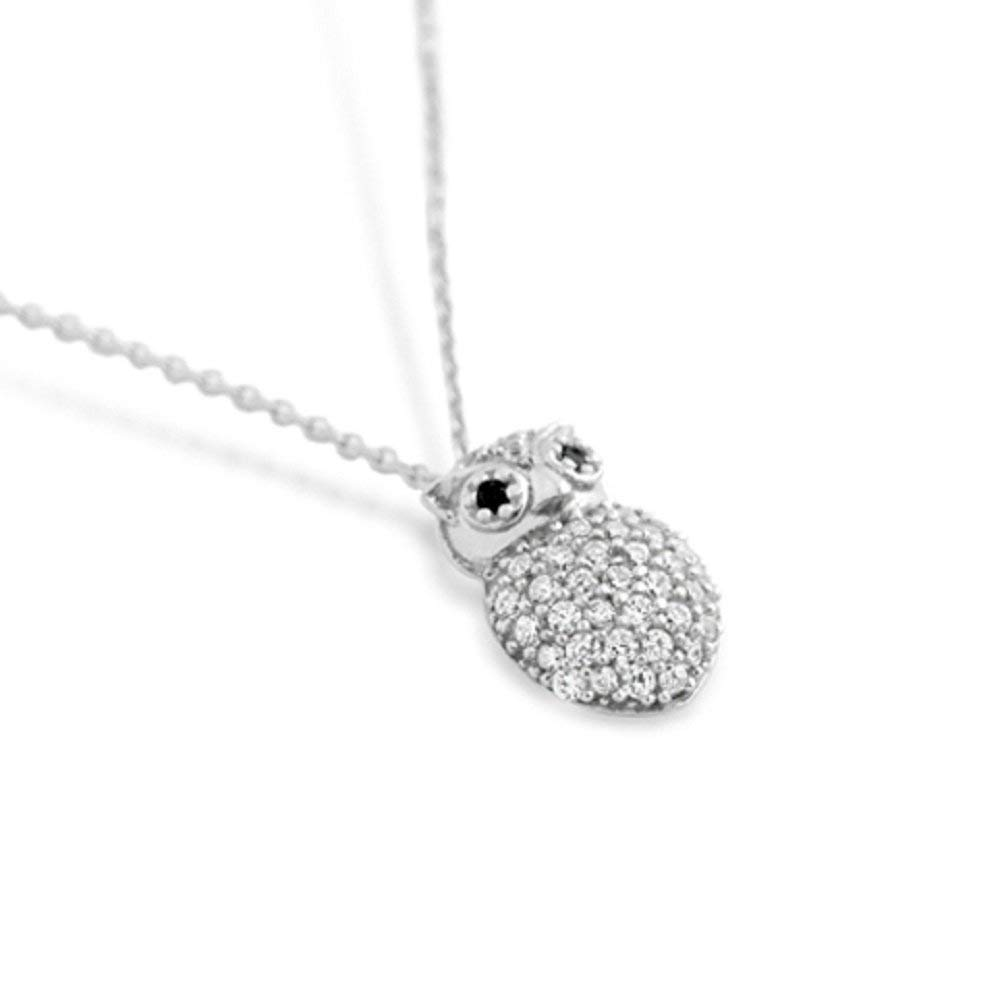 14mm 925 Sterling Silver Black Rhodium Black Cubic Zirconia Owl Pendant