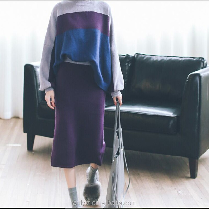 latest style woolen sweater designs for ladies slim knit package hip skirt two pieces