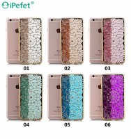 Luxury Glitter Clear 3D Rhinestone Diamond Flower Soft Ultra Thin Tpu Cover Case For iPhone 6/s