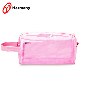 Nice price travel cosmetic storage pink pvc zipper pouch