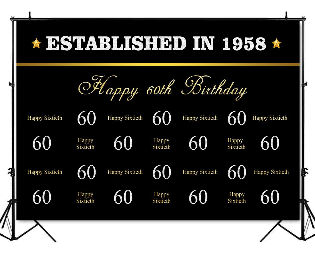 Mehofoto Happy 60th Birthday Backdrop Happy Sixtieth Step and Repeat Photography Background 7x5ft Poly Cotton Black Silver Gold Font 60th Birthday Party Decoration Banner