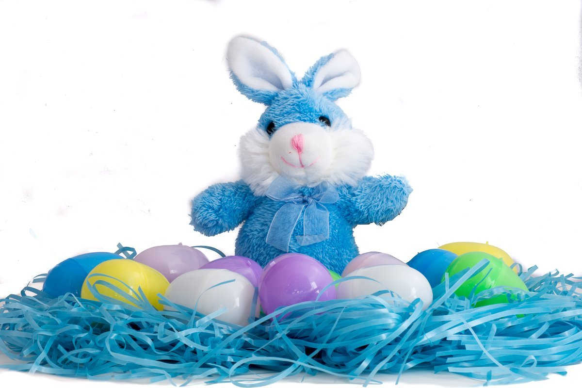 Easter Basket Stuffers/Filler Bundle - 3 Items: 1 Package Colored Easter Grass, 12 Pastel Plastic Eggs, 1 Plush Bunny (Blue)