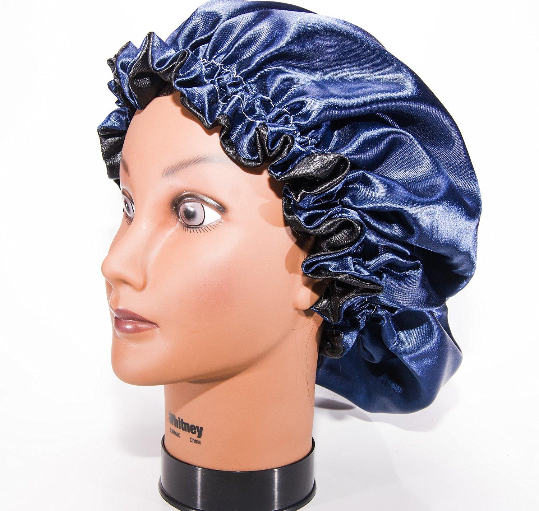 Buy Large Navy Blue 22 Reversible Luxuries Pure Satin Hair Bonnet