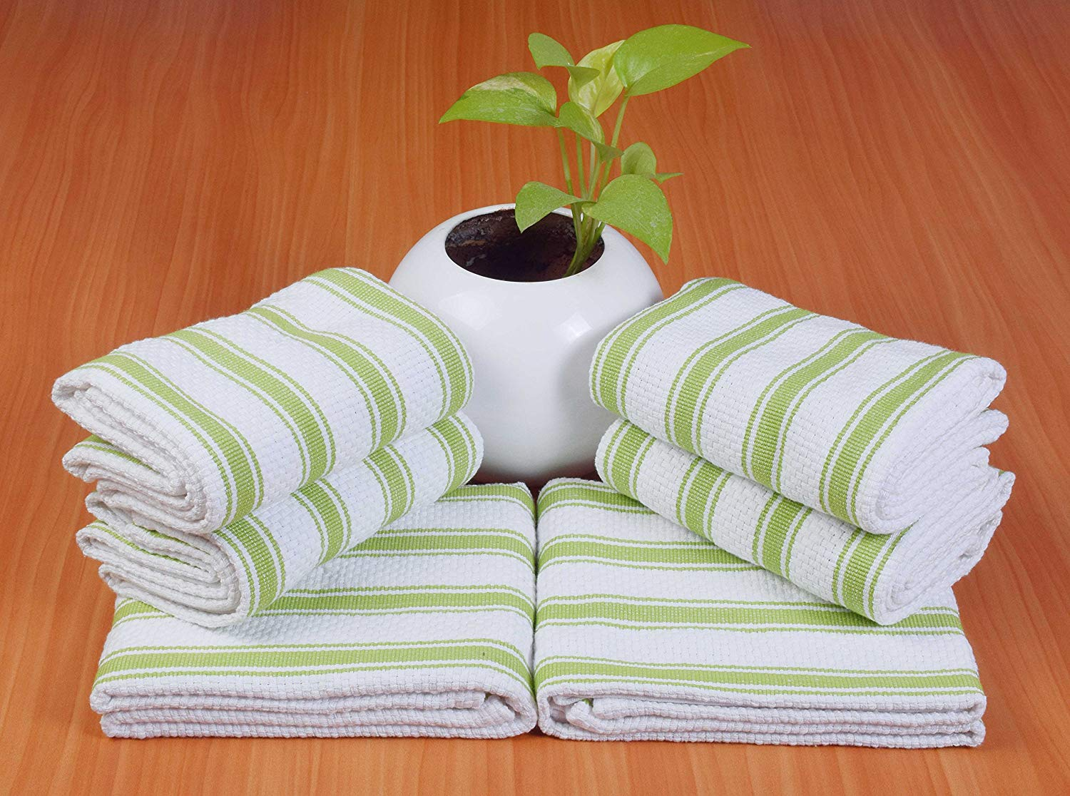 6 Pack Kitchen Towels, 16x26, Lime Green Stripe, 100% Cotton, Cool & Crisp Basket Weave with Hanging Loop, Highly Absorbent, Professional Grade, Heavy Duty, Machine Washable