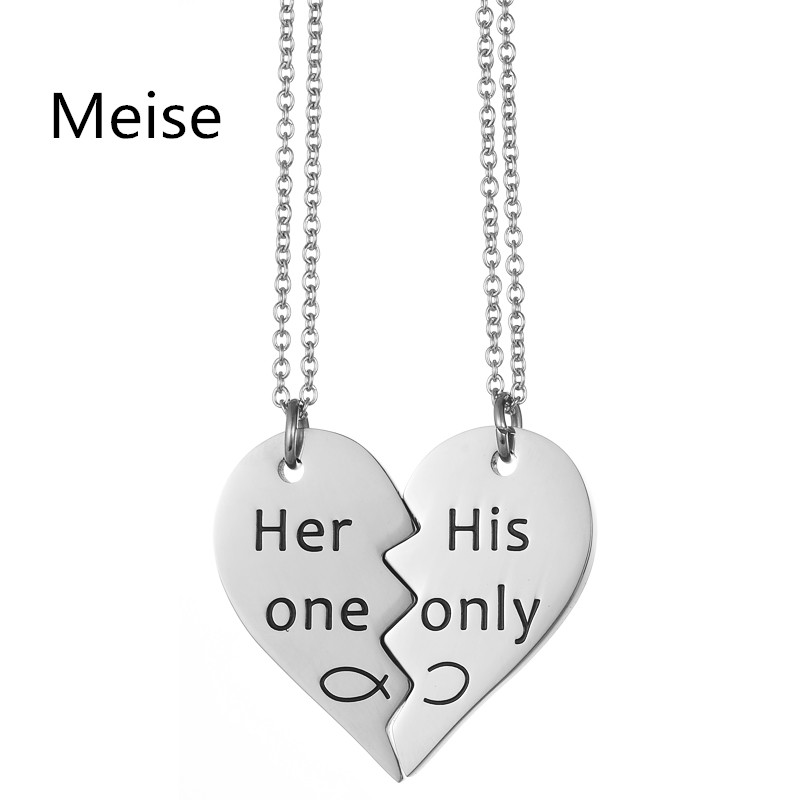 Yiwu Meise Her one His Only <strong>Jewelry</strong> 316l Stainless Steel Pendant Couple Broken Heart Necklace