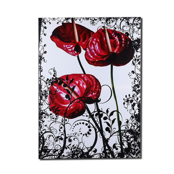 Custom picture red multi-colored peony wildflower print horse  painting on canvas art