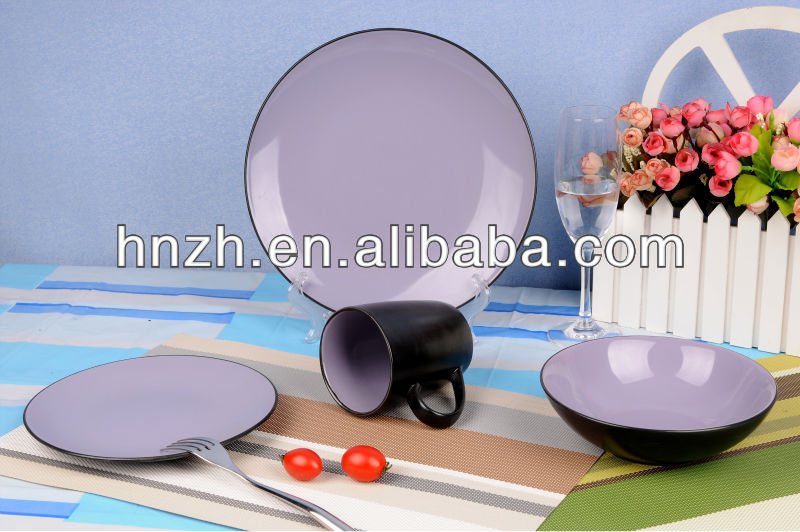 16pcs Two-tone Populat Purple Design 16pcs Two-tone Glazed dinner set/melamine tableware