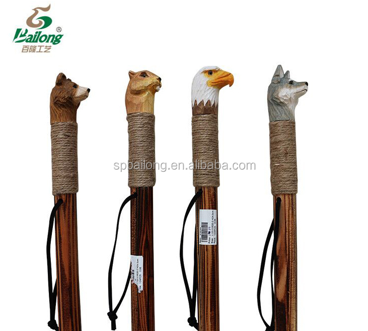 15 years factory outdoor hiking pole animal head wooden walking stick