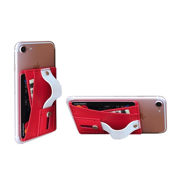 High-Quality PU leather 3M Adhesive Slim <strong>Phone</strong> Wallet with Slim Grip