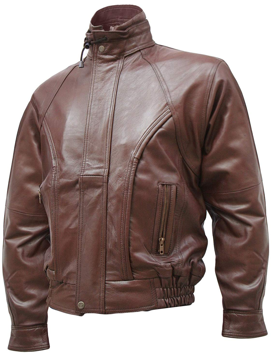 Xport Designs Real Leather Size X-Large Brown Men's Leather Bomber Jacket