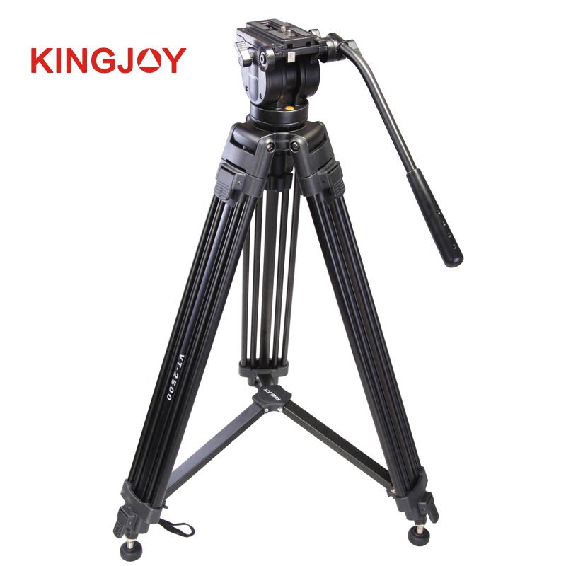KINGJOY Professional 7.5kg Payload High Quality Aluminum Alloy Video Camera Tripod Kit  for Video Studio Shooting